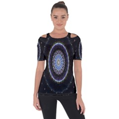 Colorful Hypnotic Circular Rings Space Short Sleeve Top