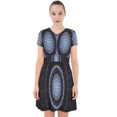 Colorful Hypnotic Circular Rings Space Adorable In Chiffon Dress