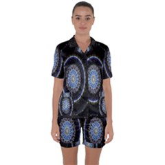Colorful Hypnotic Circular Rings Space Satin Short Sleeve Pyjamas Set