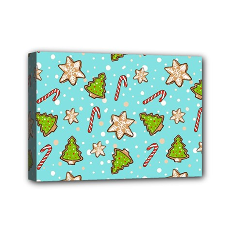 Ginger Cookies Christmas Pattern Mini Canvas 7  X 5