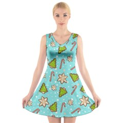 Ginger Cookies Christmas Pattern V Neck Sleeveless Skater Dress