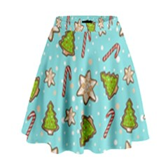 Ginger Cookies Christmas Pattern High Waist Skirt