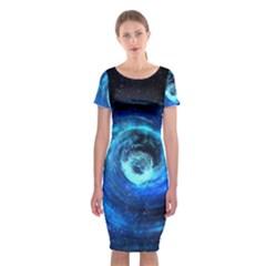 Blue Black Hole Galaxy Classic Short Sleeve Midi Dress