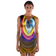 Colorful Glow Hole Space Rainbow Wrap Front Bodycon Dress