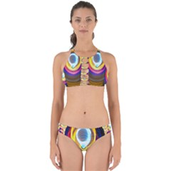 Colorful Glow Hole Space Rainbow Perfectly Cut Out Bikini Set