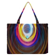 Colorful Glow Hole Space Rainbow Zipper Medium Tote Bag