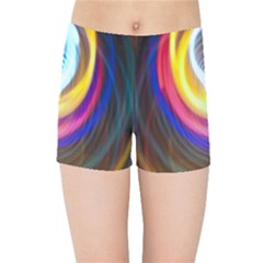Colorful Glow Hole Space Rainbow Kids Sports Shorts