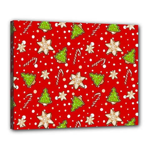 Ginger Cookies Christmas Pattern Canvas 20  X 16