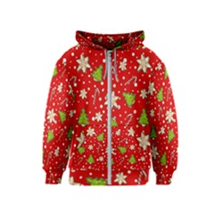 Ginger Cookies Christmas Pattern Kids  Zipper Hoodie
