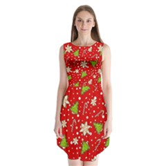 Ginger Cookies Christmas Pattern Sleeveless Chiffon Dress