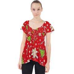 Ginger Cookies Christmas Pattern Lace Front Dolly Top
