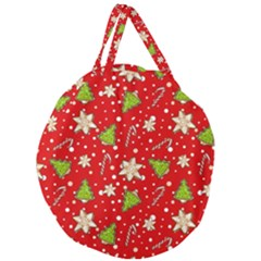 Ginger Cookies Christmas Pattern Giant Round Zipper Tote