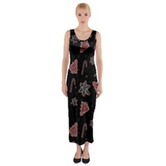 Ginger Cookies Christmas Pattern Fitted Maxi Dress