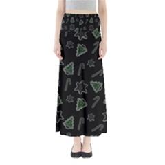 Ginger Cookies Christmas Pattern Full Length Maxi Skirt