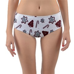 Ginger Cookies Christmas Pattern Reversible Mid Waist Bikini Bottoms