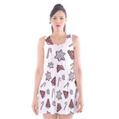 Ginger Cookies Christmas Pattern Scoop Neck Skater Dress