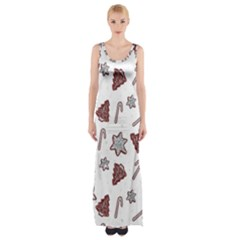 Ginger Cookies Christmas Pattern Maxi Thigh Split Dress