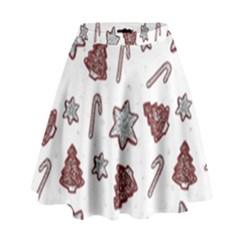 Ginger Cookies Christmas Pattern High Waist Skirt