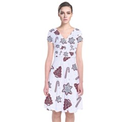 Ginger Cookies Christmas Pattern Short Sleeve Front Wrap Dress