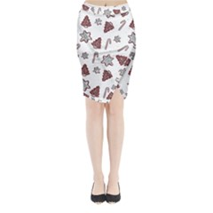 Ginger Cookies Christmas Pattern Midi Wrap Pencil Skirt