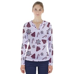 Ginger Cookies Christmas Pattern V Neck Long Sleeve Top