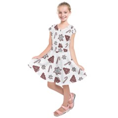 Ginger Cookies Christmas Pattern Kids  Short Sleeve Dress