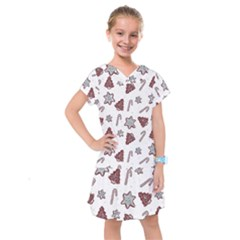 Ginger Cookies Christmas Pattern Kids  Drop Waist Dress
