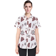 Ginger Cookies Christmas Pattern Women s Short Sleeve Shirt