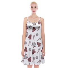 Ginger Cookies Christmas Pattern Spaghetti Strap Velvet Dress