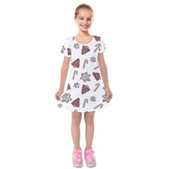 Ginger Cookies Christmas Pattern Kids  Short Sleeve Velvet Dress