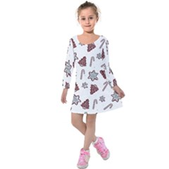Ginger Cookies Christmas Pattern Kids  Long Sleeve Velvet Dress