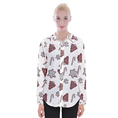Ginger Cookies Christmas Pattern Womens Long Sleeve Shirt