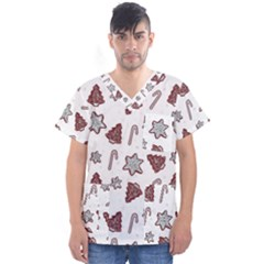 Ginger Cookies Christmas Pattern Men s V Neck Scrub Top
