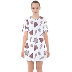 Ginger Cookies Christmas Pattern Sixties Short Sleeve Mini Dress