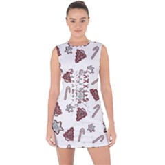 Ginger Cookies Christmas Pattern Lace Up Front Bodycon Dress