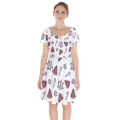 Ginger Cookies Christmas Pattern Short Sleeve Bardot Dress