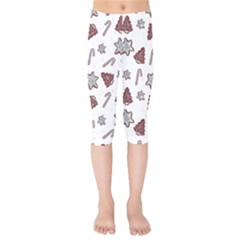 Ginger Cookies Christmas Pattern Kids  Capri Leggings