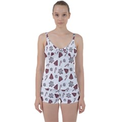Ginger Cookies Christmas Pattern Tie Front Two Piece Tankini