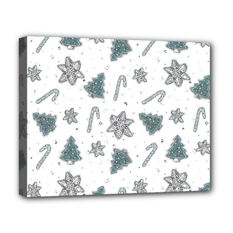 Ginger Cookies Christmas Pattern Deluxe Canvas 20  X 16