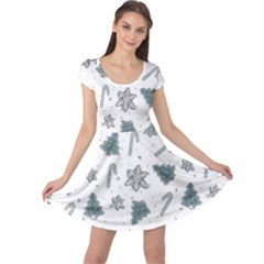 Ginger Cookies Christmas Pattern Cap Sleeve Dress