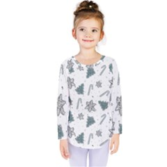 Ginger Cookies Christmas Pattern Kids  Long Sleeve Tee