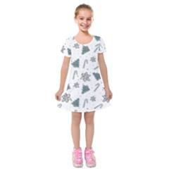 Ginger Cookies Christmas Pattern Kids  Short Sleeve Velvet Dress