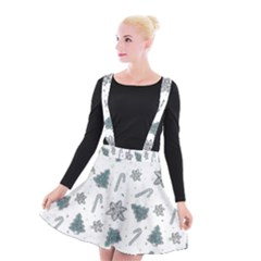Ginger Cookies Christmas Pattern Suspender Skater Skirt