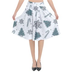 Ginger Cookies Christmas Pattern Flared Midi Skirt