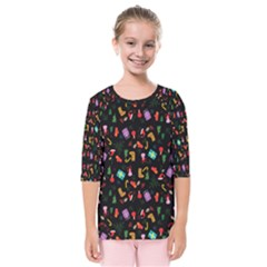 Christmas Pattern Kids  Quarter Sleeve Raglan Tee