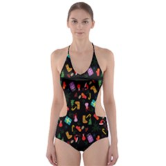 Christmas Pattern Cut Out One Piece Swimsuit