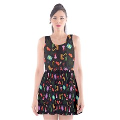 Christmas Pattern Scoop Neck Skater Dress
