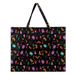 Christmas Pattern Zipper Large Tote Bag