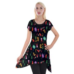 Christmas Pattern Short Sleeve Side Drop Tunic