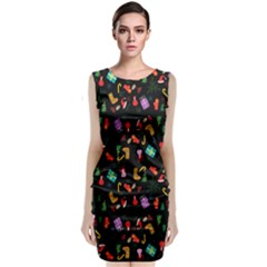 Christmas Pattern Sleeveless Velvet Midi Dress